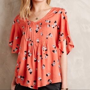 Anthropologie Maeve Pink Floral Blouse Top Buttons